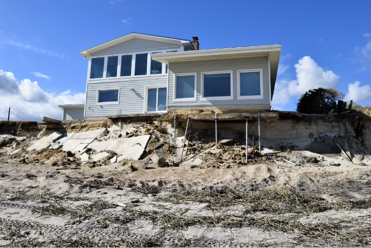 Beach House damaged by hurricane